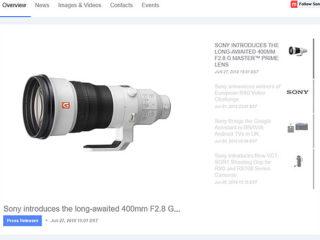 ソニーUKにて『SEL400F28GM』がニュースリリース