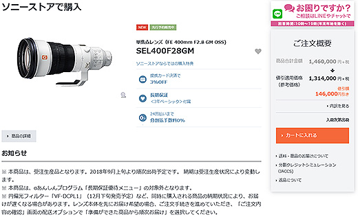 超望遠Gマスターレンズ『SEL400F28GM』先行予約販売開始