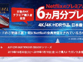 4Kブラビア購入者限定!Netflixのプレミアムプランを6ヵ月分プレゼント!