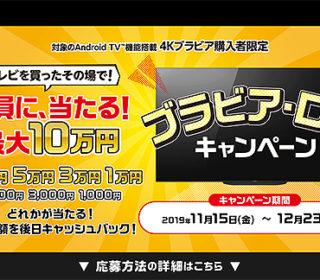 対象の4Kブラビアを買ったその場で全員に最大10万円が当たる!ソニーストア『ブラビア・ロトキャンペーン』のご案内