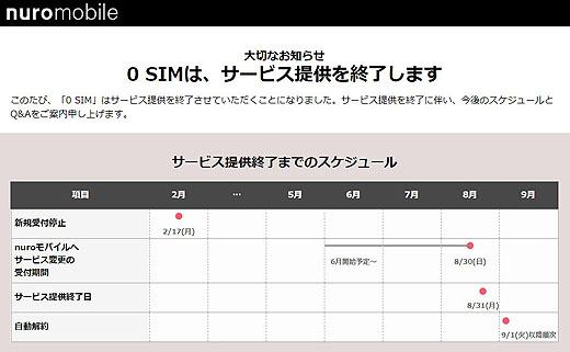 So-net『0 SIM』サービス終了のお知らせ