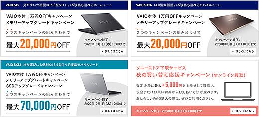 【期間限定】VAIO本体(S15/SX14/SX12)1万円OFFキャンペーン開始!パーツキャンペーンとあわせて最大7万円お得!