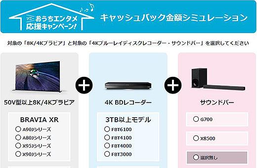 4Kテレビをご検討中の方必見!『ソニーおうちエンタメ応援キャンペーン』にキャッシュバック金額を簡単にシュミレーションできる機能を追加!